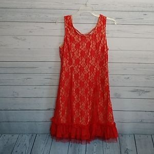 A'reve red lace dress size large